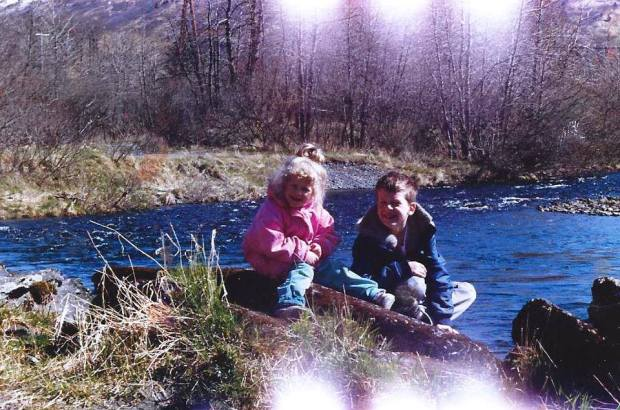 Me and my sister hanging out on the Buskin River in Kodiak, Alaska back in the 80s.