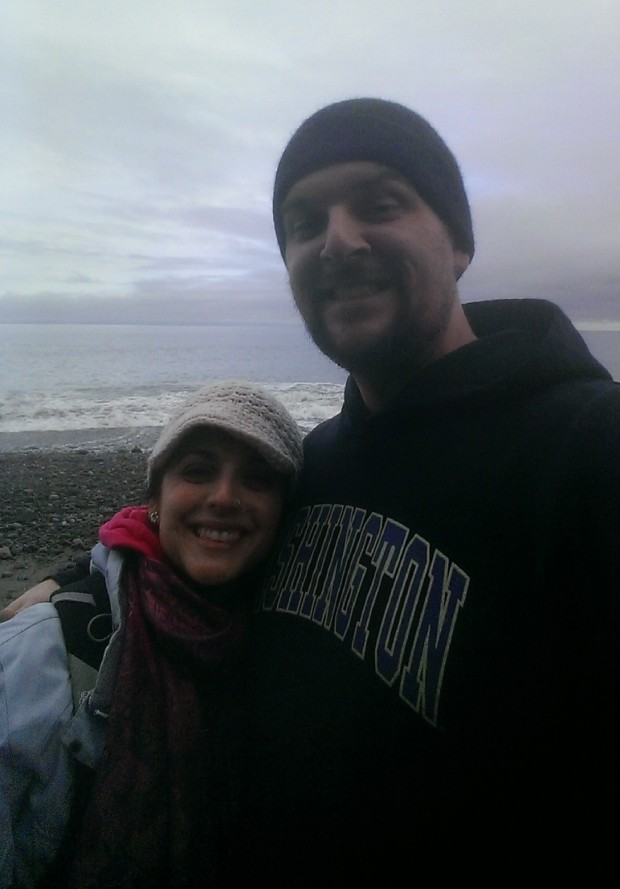 Me and my wife, Nina, taking a Dungeness Spit selfie!